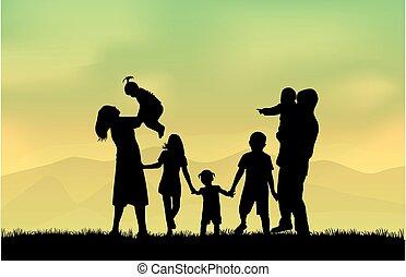família, silhuetas