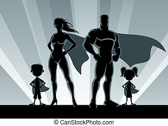 família, silhuetas, superhero
