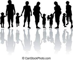 família, silueta, -, ilustração