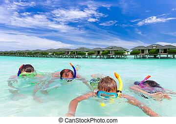 família, snorkeling