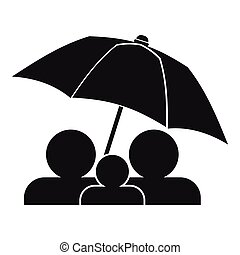 família, sob, guarda-chuva, ícone, simples, estilo