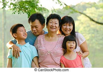 família, sorridente pé, ao ar livre, estendido