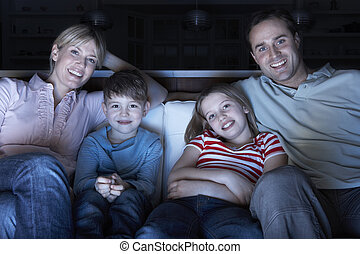 família, televisão assistindo, ligado, sofá, junto