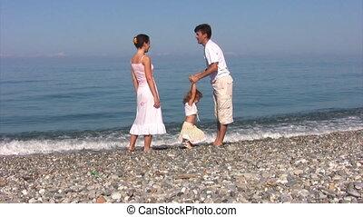 família, tem, divertimento, ligado, praia, contra, mar