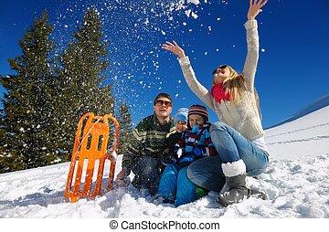família, tendo divertimento, ligado, neve fresca, em, férias inverno