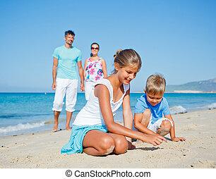 família, tendo divertimento, ligado, praia