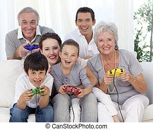 família, tendo, vídeo, divertimento, jogos, tocando