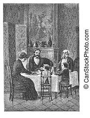 família, ter, jantar