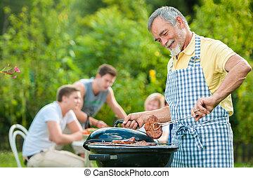 família, ter um churrasco, partido