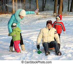 família, tocando, com, neve