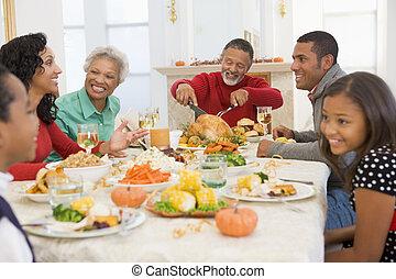 família, todos ao mesmo tempo, em, jantar natal