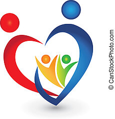 família, união, em, um, forma coração, logotipo