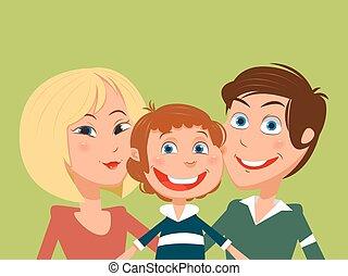 família, vetorial, caricatura, ilustração, feliz