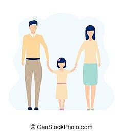 família, vetorial, junto, ficar