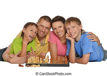 família, xadrez jogando