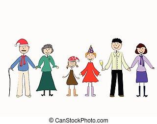 família, year., novo, celebra, amigável, feliz