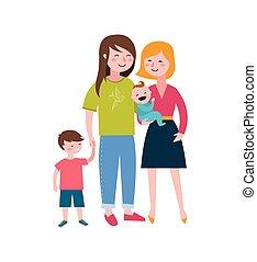 famílias, crianças, par alegre, família, fazer, divertimento, feliz