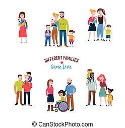 famílias, diferente, homossexual, misturado, família, tipo, necessidades, coulpe, crianças, especiais