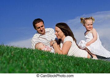 famílias, feliz