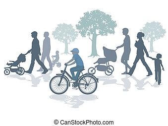 famílias, passeio