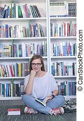 famale, livro, estudante, biblioteca, leitura