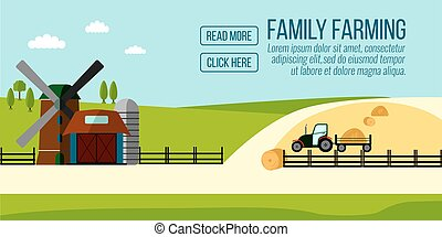 Famaly Farming banner. Agriculture Farming and Rural landscape background. Elements for info graphic, websites.Retro style banner. Vector illustration.