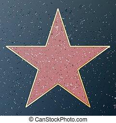fame., étoile, illustration., hollywood, promenade, célèbre, vecteur, trottoir, monument, boulevard., public, accomplissement