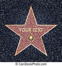 fame., accomplissements, vecteur, étoile, reussite, personnel, concept., symbole., illustration, promenade, sombre, boulevard., clair, appareil photo, célébrité, granit, hollywood, hollywood., scintillement, texture.