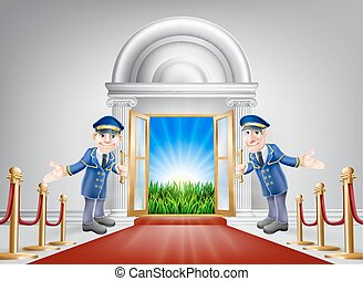 A red carpet grand luxury entrance door leading into a perfect idyllic green field landscape with sunrise. Fresh start, future happiness, new opportunities or similar concepts.