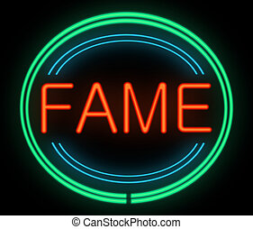 Fame concept. - Illustration depicting a neon signage with a...