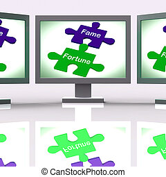 Fame Fortune Puzzle Screen Shows Celebrity Or Well Off -...