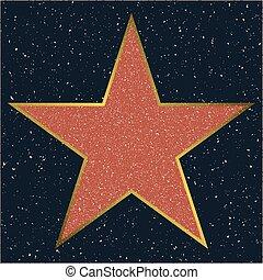 fame., hollywood, gabarit, promenade étoile, vide