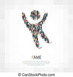 fame people sign - Isometric set of styles, fame sign , web...