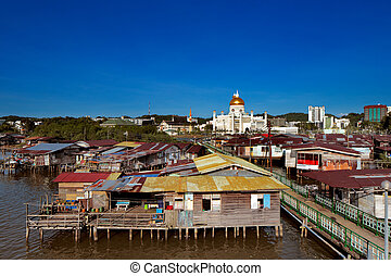 Famed water village of Brunei's cap