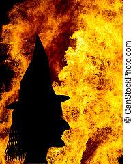 fames, シルエット, 上に, ハロウィーン, bonfire., 顔, 魔女, ∥など∥.