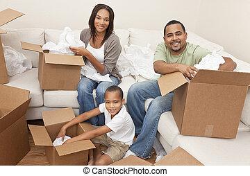 famiglia americana africana, disfare imballa, casa commovente