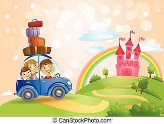famiglia, andare, a, il, fiaba, castle.
