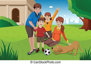 famiglia, animali domestici, felice