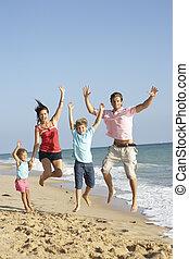 famiglia, aria, saltare, ritratto, vacanza, spiaggia