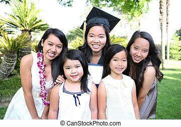 famiglia asiatica, festeggiare, graduazione