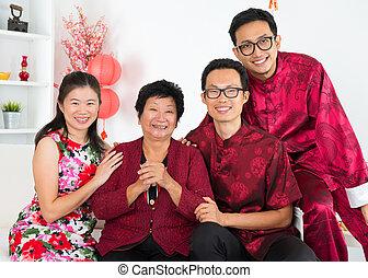 famiglia, asiatico, reunion.