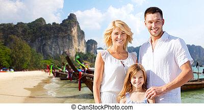 famiglia, bali, sopra, tailandia, spiaggia, o, felice