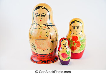 famiglia, bambole, tradizione, russo