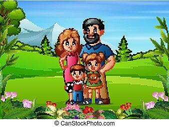 famiglia, bello, natura, fondo, giovane
