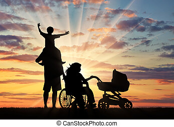 famiglia, carrozzella, invalido, persona, tramonto, carrozzina