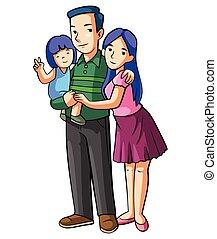 famiglia, cartone animato, illustrazione, felice