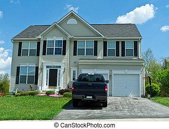 famiglia, casa, suburbano, singolo, parteggiare, vinile,...
