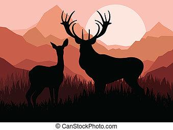 famiglia cervo, coppia, silhouette, in, selvatico, montagna, paesaggio natura, fondo, illustrazione, vettore