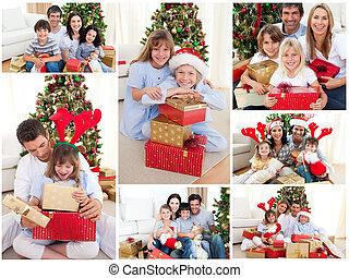 famiglia, collage, insieme, festeggiare, casa, natale