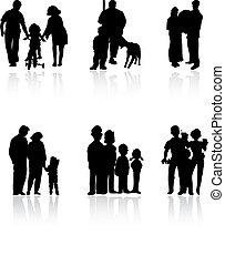 famiglia, colour., illustrazione, silhouette, vettore, nero